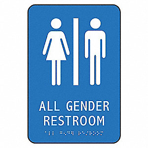 "Restrooms, No Header, Plastic, 9"" x 6"", Surface, Not Retroreflective"
