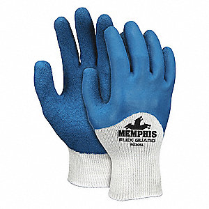 10 Gauge Crinkled Natural Rubber Latex Coated Gloves, Glove Size: XL, White/Blue