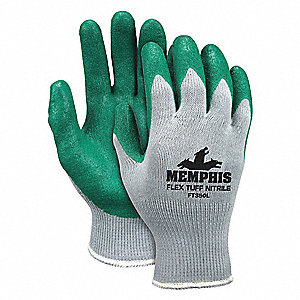 10 Gauge Flat Nitrile Coated Gloves, Glove Size: M, Gray/Green