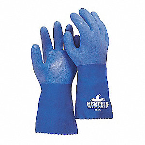 PVC Chemical Resistant Gloves, Blue, Size 3XL, 1 PR