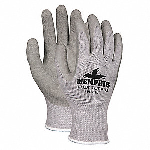 10 Gauge Crinkled Natural Rubber Latex Coated Gloves, Glove Size: S, Gray