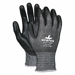 Polyurethane Cut Resistant Gloves, ANSI/ISEA Cut Level 2, Synthetic Lining, Black/Salt and Pepper, 2