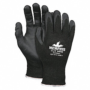 Polyurethane Cut Resistant Gloves, ANSI/ISEA Cut Level A3, HPPE Lining, Black, S, PR 1