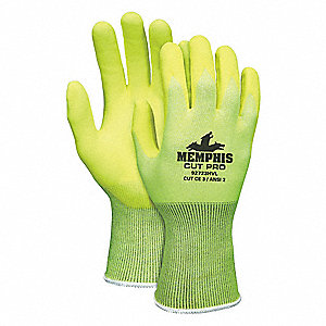 Nitrile Cut Resistant Gloves, ANSI/ISEA Cut Level A2 Lining, High Visibility Yellow, 2XL, PR 1