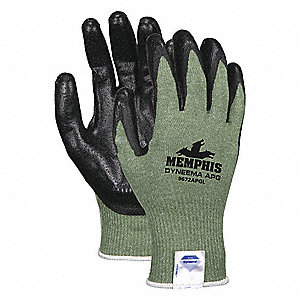 Cut Resistant Gloves, ANSI/ISEA Cut Level A2, HPPE Lining, Black, Green, 2XL, PR 1