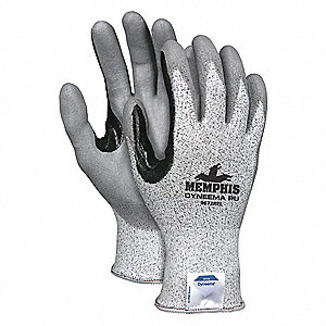 Polyurethane Cut Resistant Gloves, ANSI/ISEA Cut Level A2, HPPE Lining, Gray, Salt and Pepper, XL, P