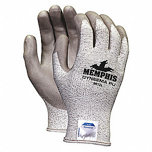Polyurethane Cut Resistant Gloves, ANSI/ISEA Cut Level A3, HPPE Lining, Gray, Salt and Pepper, XL, P