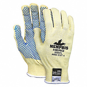 PVC Cut Resistant Gloves, ANSI/ISEA Cut Level 4 Lining, Yellow, M, PR 1