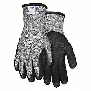 Biopolymer Cut Resistant Gloves, ANSI/ISEA Cut Level A3, HPPE Lining, Black, Salt and Pepper, XL, PR