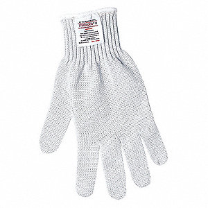 Uncoated Cut Resistant Glove, ANSI/ISEA Cut Level A8 Lining, White, S, EA 1