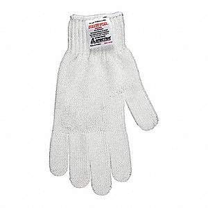 Uncoated Cut Resistant Glove, ANSI/ISEA Cut Level A7 Lining, White, XL, EA 1