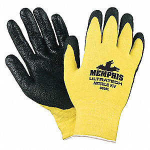 Nitrile Cut Resistant Gloves, ANSI/ISEA Cut Level A2, Kevlar® Lining, Yellow/Black, L, PR 1