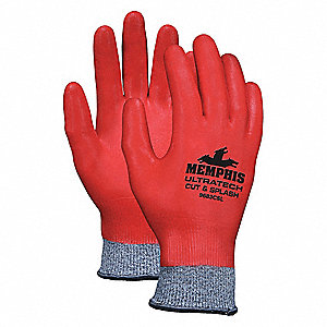 Nitrile Cut Resistant Gloves, ANSI/ISEA Cut Level A3 Lining, Red, Salt and Pepper, S, PR 1