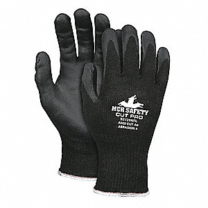 Nitrile Cut Resistant Gloves, ANSI/ISEA Cut Level A6, HPPE, Stainless Steel Lining, Black, L, PR 1