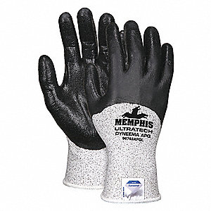 Cut Resistant Gloves, ANSI/ISEA Cut Level A2, HPPE Lining, Black, Salt and Pepper, XL, PK 12