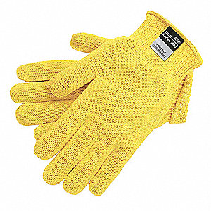 Uncoated Cut Resistant Gloves, ANSI/ISEA Cut Level 3 Lining, Yellow, S, PK 12