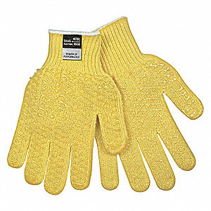 PVC Cut Resistant Gloves, ANSI/ISEA Cut Level 3, Kevlar® Lining, Yellow, M, PK 12