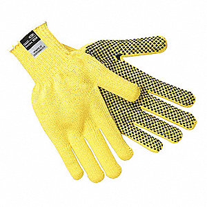 PVC Cut Resistant Gloves, ANSI/ISEA Cut Level 3, Kevlar® Lining, Yellow/Black, S, PK 12