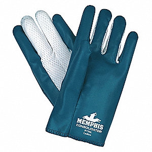 Chemical Resistant Gloves, Standard Weight Thickness, Interlock Lining, Blue/White, PK 12