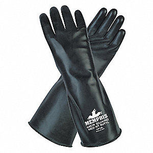 14.00 mil Butyl Chemical Resistant Gloves, Black, Size L, 1 PR