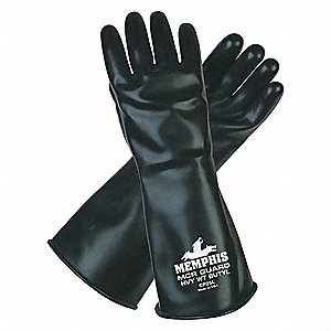 "Chemical Resistant Gloves, Size S, 14""L, Black ,  1 PR"