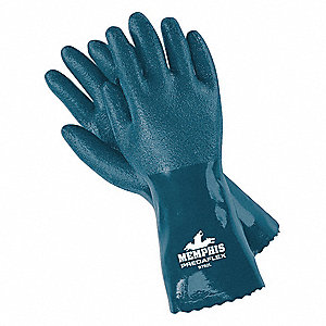 Chemical Resistant Gloves, Interlock Lining, Blue, PR 1