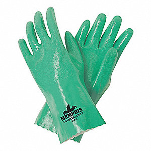 Chemical Resistant Gloves, Interlock Lining, Green, PK 12