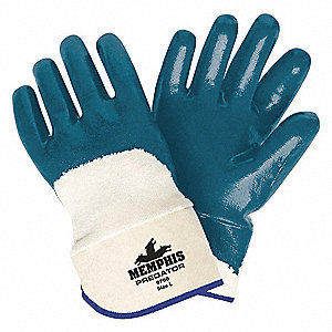 18.00 mil Nitrile Chemical Resistant Gloves, Jersey Lining, Blue/White, Size M