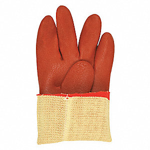 PVC Chemical Resistant Gloves, Kevlar® Lining, Red, Size M