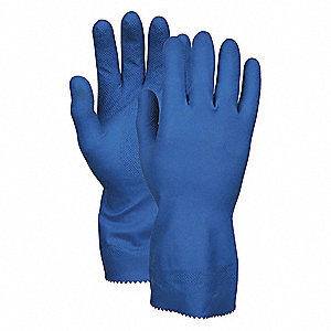 Latex Chemical Resistant Gloves, 28 mil Thickness, Unlined Lining, Size S, Blue, PK 12