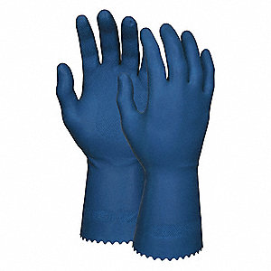 Chemical Resistant Gloves, Unlined Lining, Dark Blue, PR 1