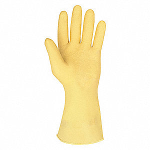10.00 mil Natural Rubber Latex Chemical Resistant Gloves, Unlined Lining, Amber, Size M