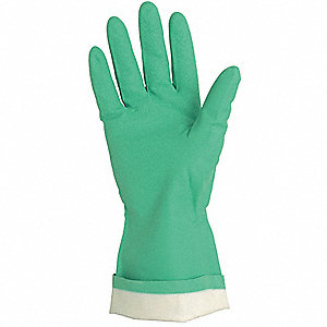 15.00 mil Nitrile Chemical Resistant Gloves, Green, Size M, 1 PR
