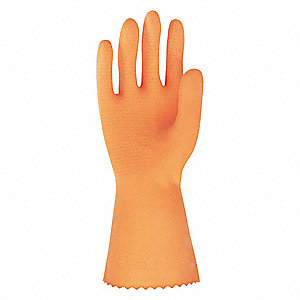 28.00 mil Natural Rubber Latex / Neoprene Chemical Resistant Gloves, Flock Lining, Orange, Size M
