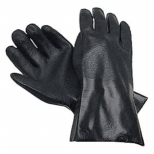 PVC Chemical Resistant Gloves, Standard Weight Thickness, Interlock Lining, Size L, Black, PK 12