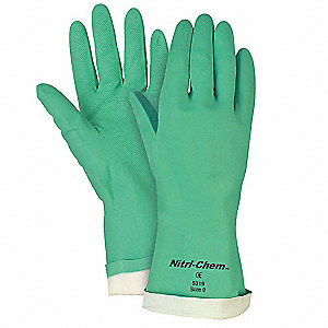 Chemical Resistant Gloves, Flock Lining, Green, PR 1