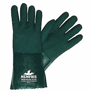 59.00 mil PVC Chemical Resistant Gloves, Hunter Green, Size L, 1 PR