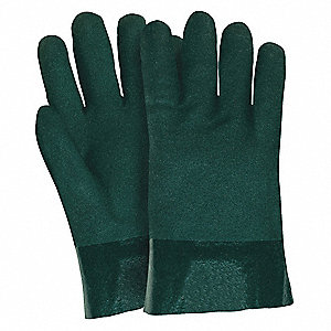 GLOVE,WHITE /GREEN,L 10IN,PVC,LARGE