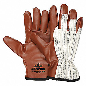 Smooth Nitrile Coated Gloves, Glove Size: S, White/Burgundy