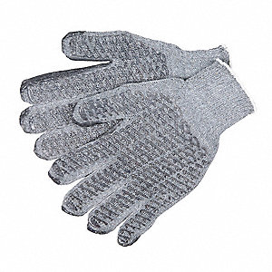 Knit Gloves, Cotton Polyester Blend Material, Knit Wrist Cuff, Gray, Glove Size: M