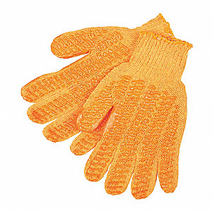 Knit Gloves, Acrylic Material, Knit Wrist Cuff, Orange, Glove Size: S