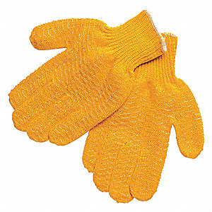 Knit Gloves, Acrylic Material, Knit Wrist Cuff, Orange, Glove Size: XL