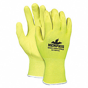 7 Gauge Sandy Nitrile Coated Gloves, Glove Size: M, High Vis Yellow