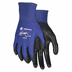 GLOVE,BLUE/BLACK,KNIT WRIST,M