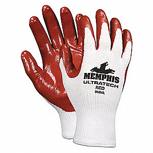 13 Gauge Flat Nitrile Coated Gloves, Glove Size: L, Red/White