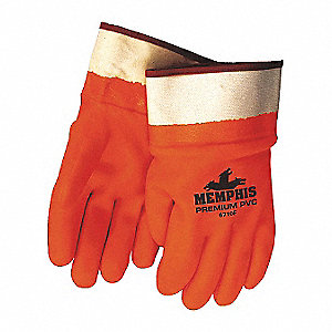 Chemical Resistant Gloves, Standard Weight Thickness, Foam Lining, Orange, PK 12