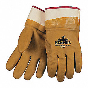 PVC Chemical Resistant Gloves, Standard Weight Thickness, Foam Lining, Size L, Tan, PK 12