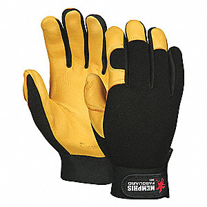 Coated Gloves,L,Blk/Yellow,Unlined,PR