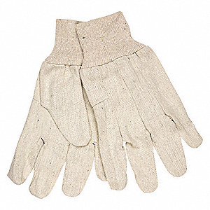 Canvas Gloves, Canvas Material, Knit Wrist Cuff, Natural, Glove Size: L