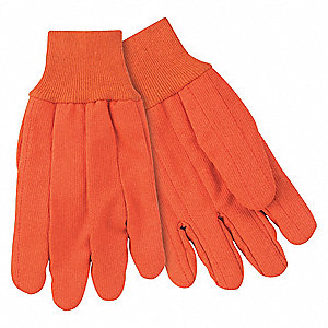 Coated Gloves, Canvas Material, Knit Wrist Cuff, Orange, Glove Size: L